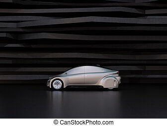 Side view of silver self-driving car on abstract background....
