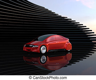 Metallic red autonomous car on abstract background. 3D...