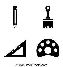 Drawing and painting Vector icons set