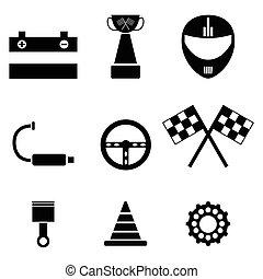Karting icon set.