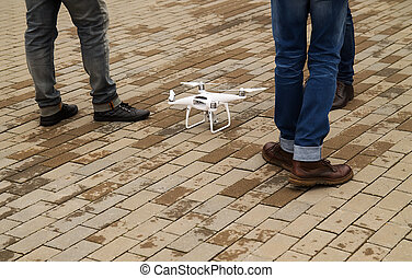 Drone ready for flight - Drone stands on the ground ready...