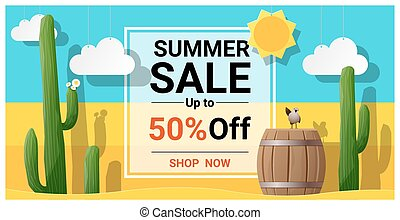 Summer sale background with cactus in desert