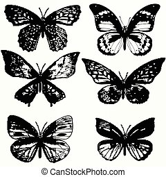 A collection of realistic butterflies in vintage style.eps -...
