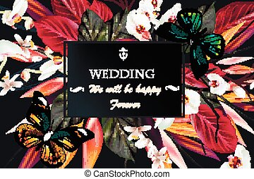 Beautiful vector save the date card on a tropical theme with...