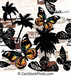 Beautiful wallpaper pattern with butterflies and palm trees...