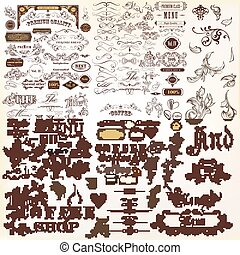 Big collection of vector decorative elements flourishes,...