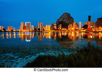 Costa Blanca, Spain. Skyscrapers of Mediterranean summer resort Calpe