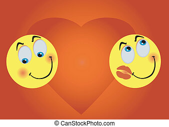 2 enamoured smiles on background big heart