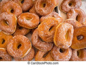 Delicious doughnuts with icing sugar