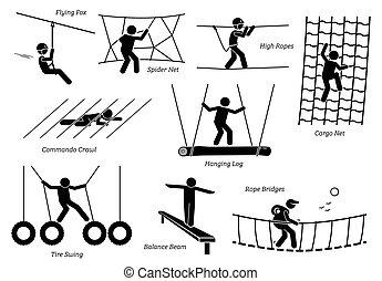 Eco Resort Activities. - Artworks depict games at eco resort...