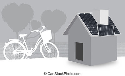 Illustration 3D House and Bicycles with Solar Energy Panels on the Roof of a House