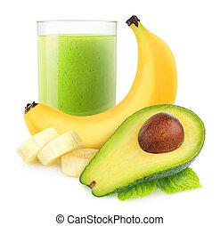 Avocado banana smoothie - Isolated drink. Avocado banana...