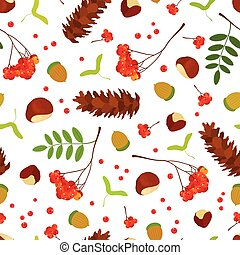 Forest seamless pattern of acorns, chestnuts, maple seeds, Rowan berry bunch with leaves, sugar pine cone on white background. Vector illustration for design.
