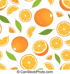 Seamless pattern of citrus fruit - orange with leaves, whole products and slices on white background. Vector illustration in color. Cover for design.