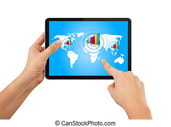 Hand pushing stock growth on tablet with blue earth map -...
