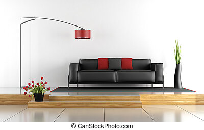 Modern lounge with black sofa - 3d rendering