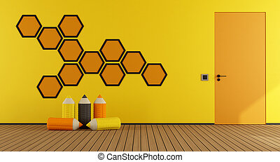 Yellow and orange playroom - Playroom with hexagon...