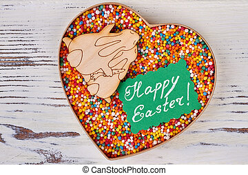 Sprinkle dots, Happy Easter card. Heart box and plywood...