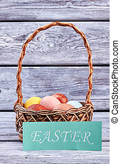 Egg basket and Easter card.