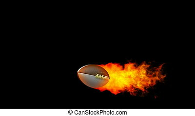 Rugby fireball in flames - HD render with alpha channel