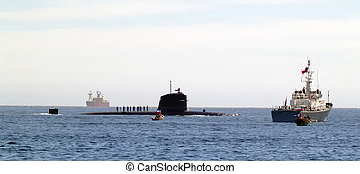 Submarine on surface