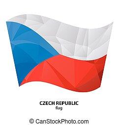 polygonal flags-10 - Polygonal Czech Republick flag isolated...