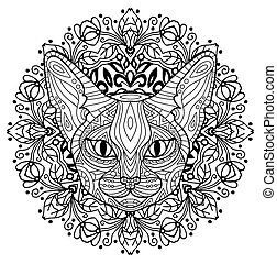 Coloring book for adults. The head of a mysterious cat with a circular pattern. Cat spring.