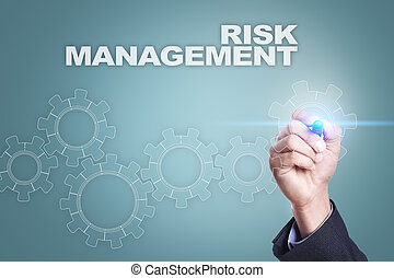 Businessman drawing on virtual screen. risk management concept