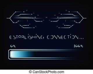 nternet connecion lines with progress bar loading, vector -...