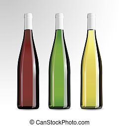 Bottle of wine and champagne - Realistic vector bottle of...