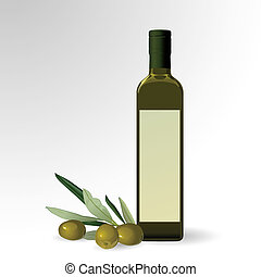 Olive oil bottle - Vector illustration of olive oil bottle...
