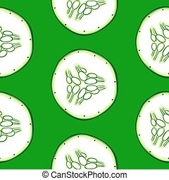 Cucumber slices pattern - Seamless pattern with cucumber...