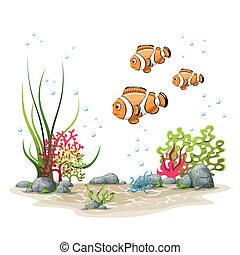 Illustration of an underwater landscape with fish and plants