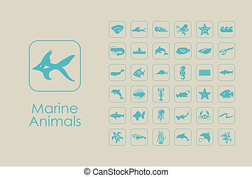 Set of marine animals simple icons - It is a set of marine...