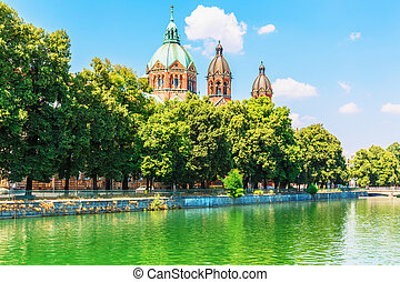 Munich, Germany - Scenic summer view of Isar river...