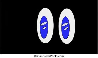 Eye in the dark - The Eye moving in the dark. Blue eye in...