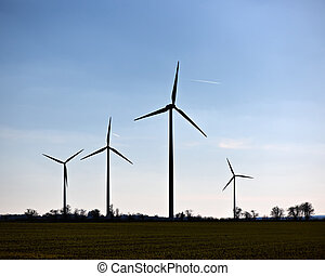 Wind turbines in a rural landscape