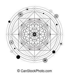 Mystical geometry symbol. Linear alchemy, occult,...