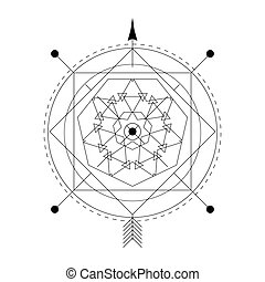 Linear alchemy, occult, philosophical sign. For music album...