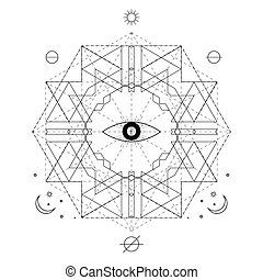 Abstract mystical geometry symbol. Vector linear alchemy,...