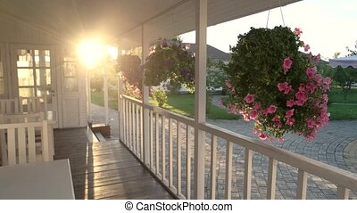 House porch and sunlight. Flowers moving in the wind.
