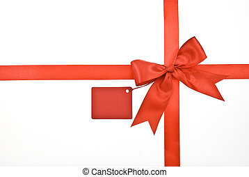 Red ribbon and bow with label