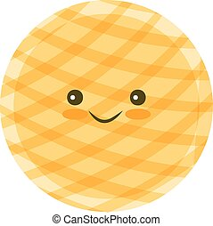 Chip cookie icon - Chip Kawaii cookie icon for food apps and...