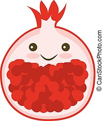 Pomegranate illustration. Garnet icon. - Kawaii Pomegranate....