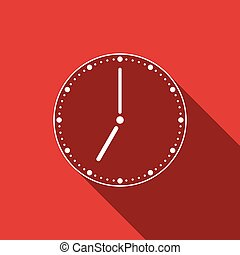 Clock flat icon with long shadow. Vector Illustration