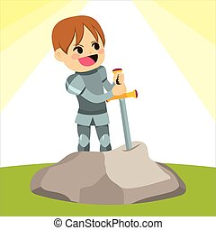 Excalibur Knight - Cute little knight boy pulling Excalibur...