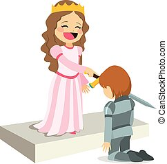 Knighting Ceremony - Cute happy smiling queen on knighting...