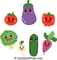 Vegetable Cartoon Characters - Cute group of healthy...