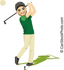 Golf Player Man - Excited young golf player man making swing