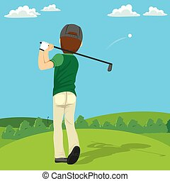 Golfer Hitting Ball - Back view illustration of golfer...